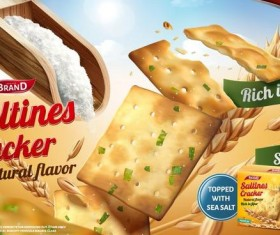 saltine cracker ad poster template vector 01