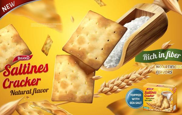 saltine cracker ad poster template vector 02