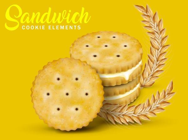 sandwich cookies vector material 02