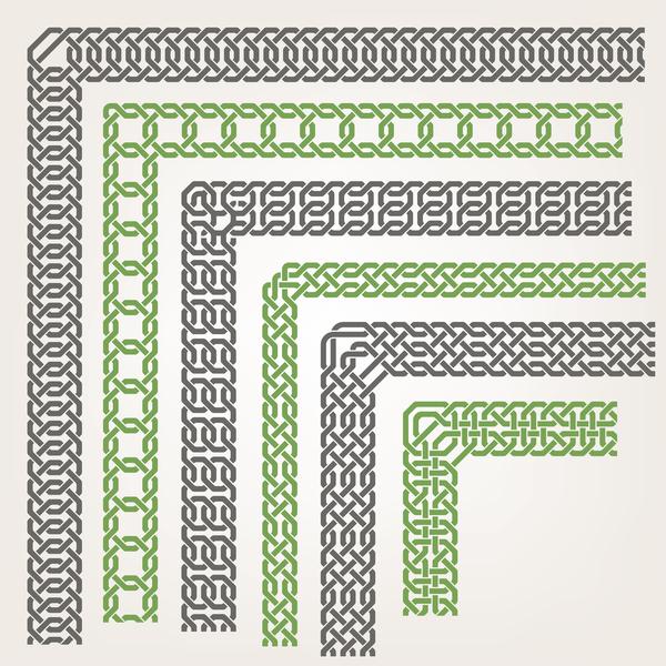 seamless corners border vector material 02