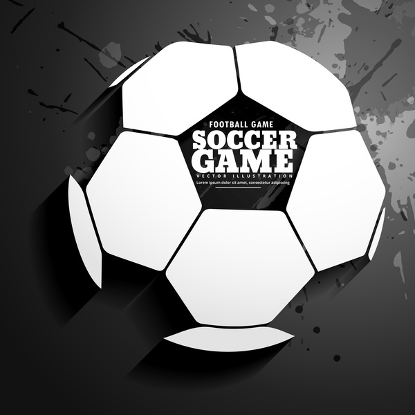 soccer with black grunge background vector