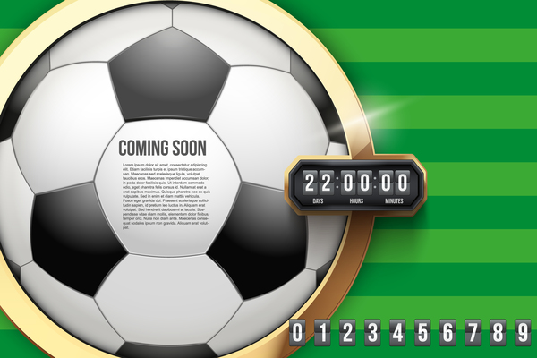 soccer with time background vector