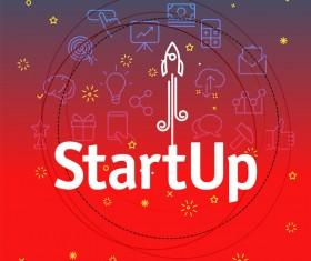 startup red bsiness background vector