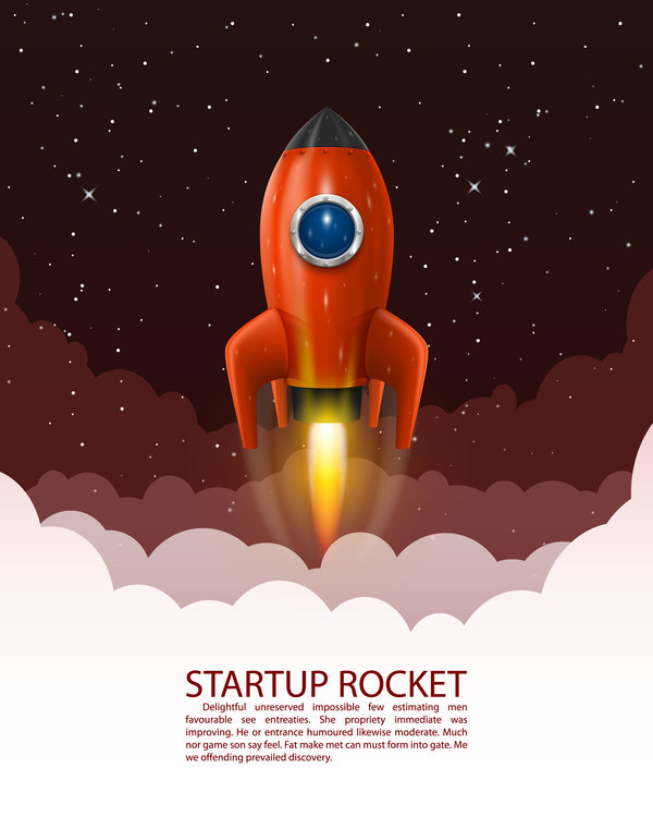 Startup Rocket Vector Template