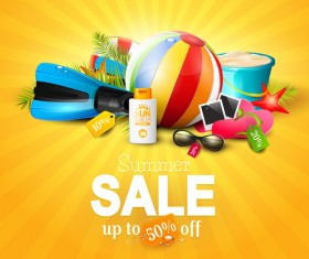 summer sale orange top background vector
