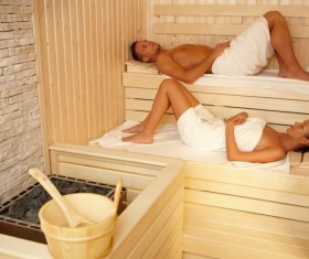 wash sauna couple Stock Photo 02