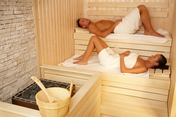 wash sauna couple Stock Photo 02