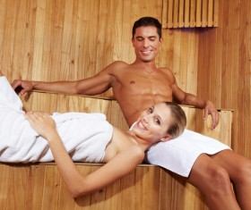 wash sauna couple Stock Photo 03