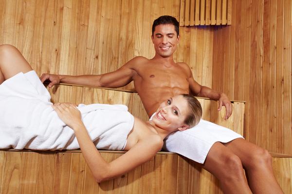 wash sauna couple Stock Photo 03