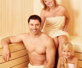 wash sauna family Stock Photo 01