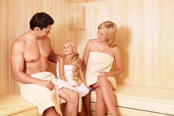 wash sauna family Stock Photo 02