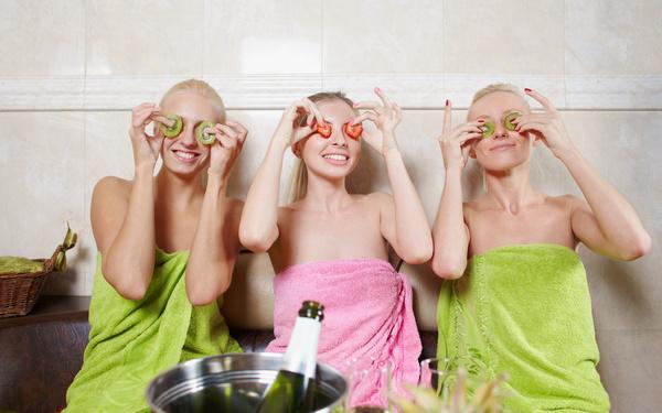 wash sauna sisters Stock Photo 05