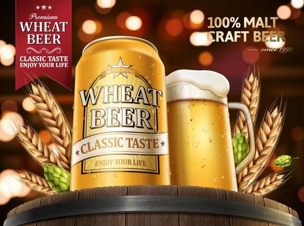 wheat beer ad poster template vector 01