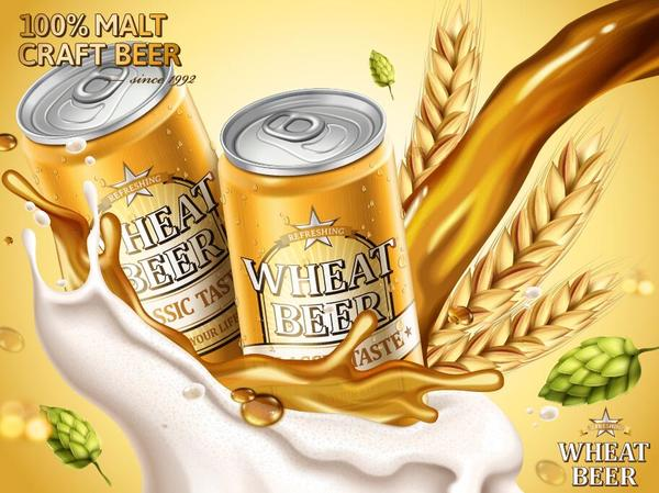 wheat beer ad poster template vector 02