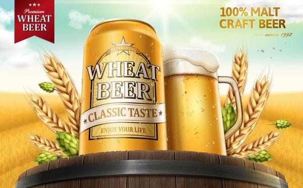 wheat beer ad poster template vector 03