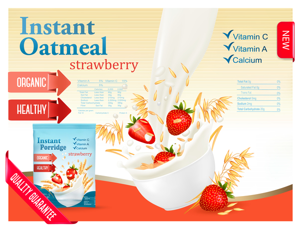 wheat oatmeal with strawberry and milk poster template vector