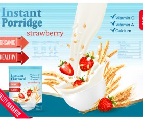 wheat porridge with strawberry and milk poster template vector
