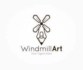 windmill art logo vector