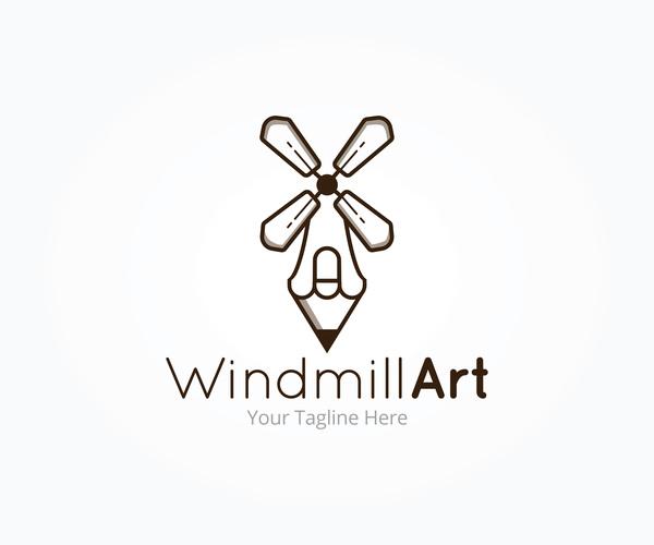 windmill art logo vector