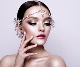 woman with pearl headdress Stock Photo