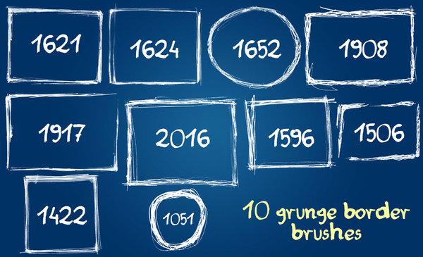 10 Kind grunge border Photoshop Brushes