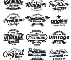 12 kind black vintage laels design vector
