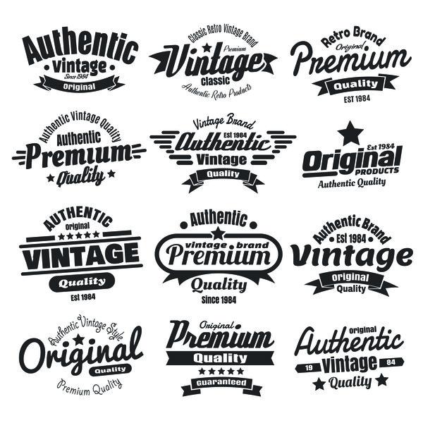 12 kind black vintage laels design vector