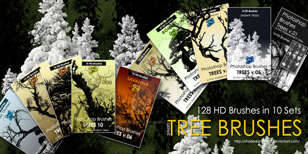 18 HD Dry Trees Photoshop Brushes