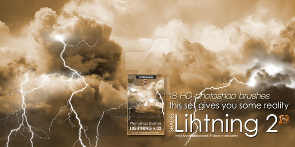 18 Kind Lightning Photoshop Brushes