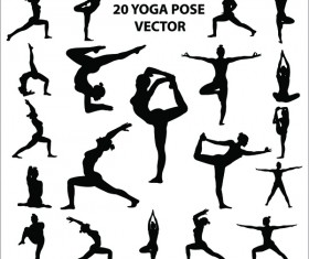 20 yoga pose vector silhouette