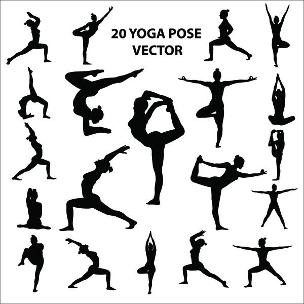 20 yoga pose vector silhouette