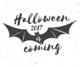2017 Halloween label with bat vector