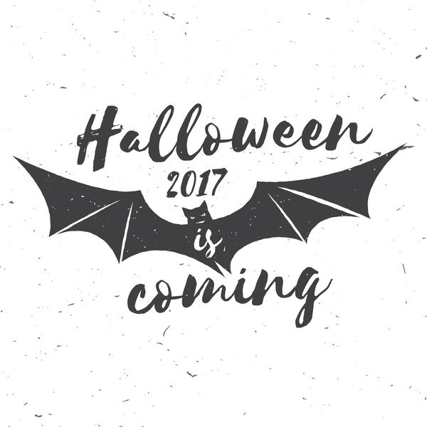 2017 Halloween label with bat vector