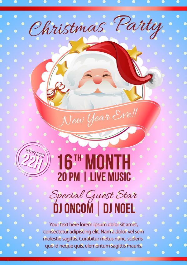 2017 christmas party poster template with santa vector
