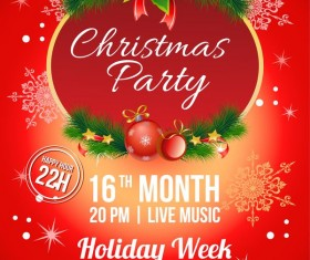 2017 christmas red party poster vector template
