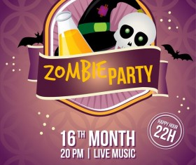 2017 halloween zombie party poster vector template