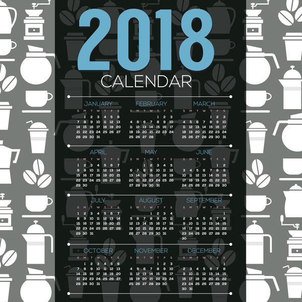 2018 calendar template with coffee elements background vector 01