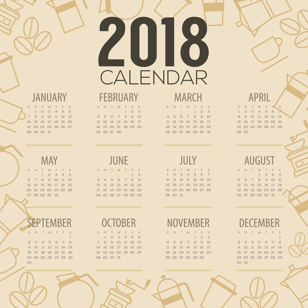 2018 calendar template with coffee elements background vector 02