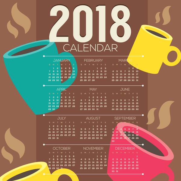 2018 calendar template with coffee vector 01