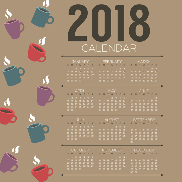 2018 Calendar Template With Coffee Vector 02 Free Download