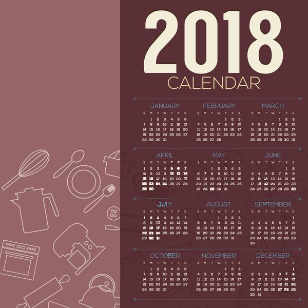 2018 calendar template with kitchenware background vector 02