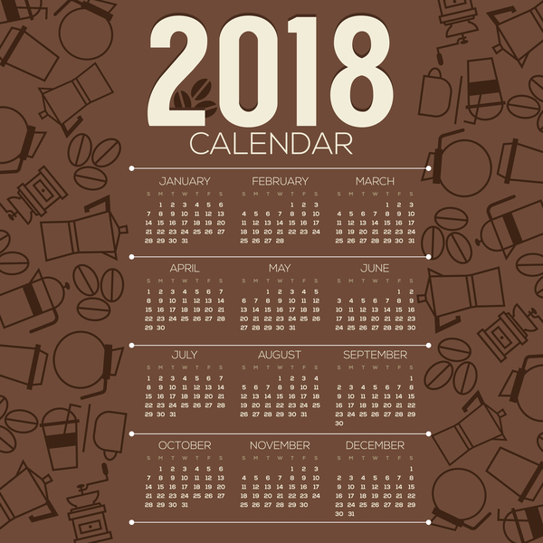 2018 calendar with coffee background vector