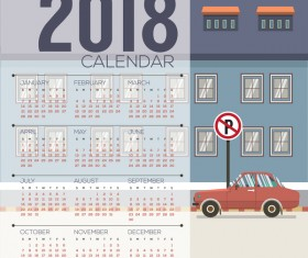 2018 city calendar vector template 01