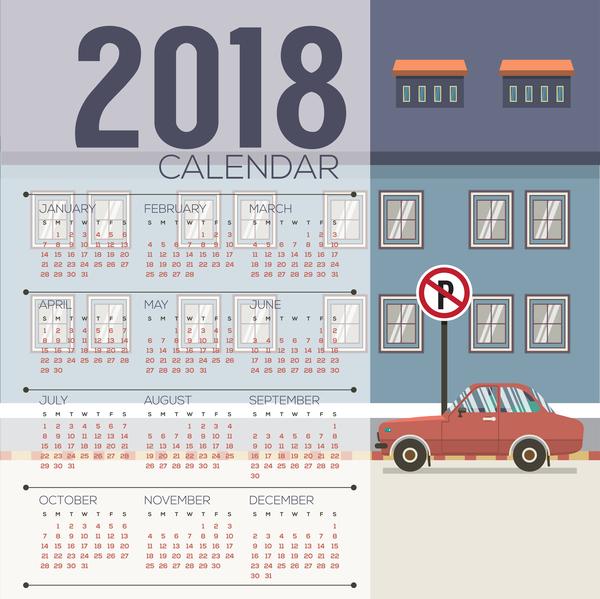 2018 city calendar vector template 01