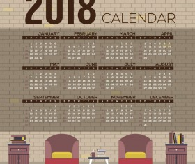 2018 city calendar vector template 02