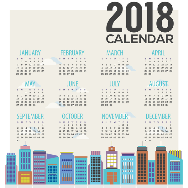 2018 city calendar vector template 05