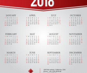 2018 company calendar template red styles vector