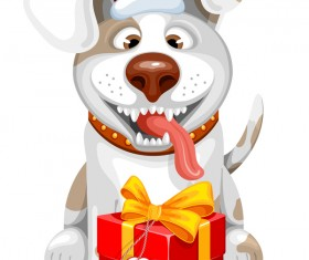 2018 new year gift with dog vector