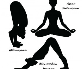 3 yoga pose silhouette vector design