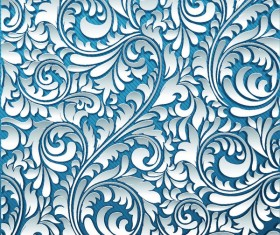 3D Paper cutting floral pattern vector 03